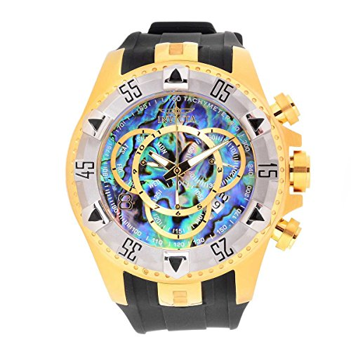 Invicta 25017 Men's Excursion Chronograph Blue Abalone Dial Black Silicone Strap Dive Watch ()