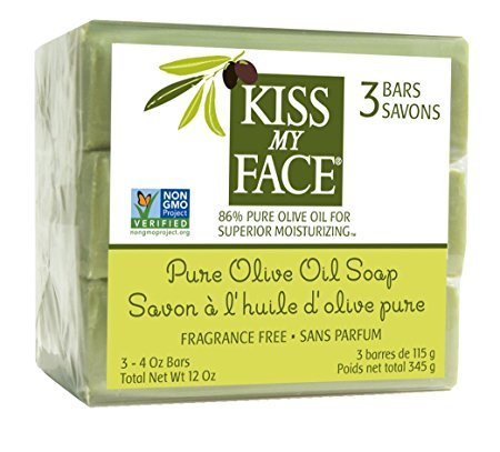 Olive Natural Soap - Kiss My Face Naked Pure Olive Oil Moisturizing Bar Soap, 4ounce, 3 Count