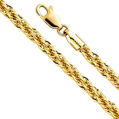 14k Yellow Gold Hollow Men's 4mm Fancy Rope Chain Necklace with Lobster Claw Clasp
