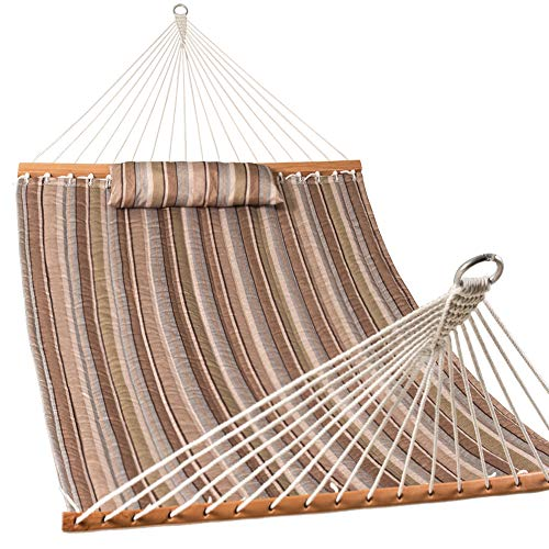 Lazy Daze Hammocks Quilted Fabric Double Size Spreader Bar Heavy Duty Stylish Hammock Swing with Pillow for Two Person, Olive Green/Taupe Stripes (Large Fabric Hammock Quilted)