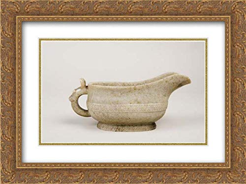 China Culture - 24x18 Gold Ornate Frame and Double Matted Museum Art Print - Water Vessel in The Shape of an Ancient Ritual Bronze (yi)