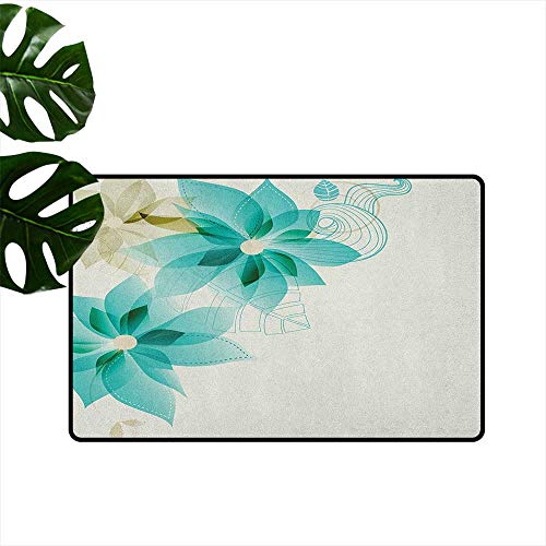 RenteriaDecor Teal,American Floor mats Vintage Inspired Floral Design with Abstract Vibrant Colored Natural Elements 36