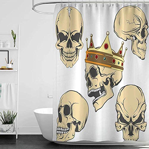 homecoco Shower Curtains Grey and White Skull,Skulls Different Expressions Evil Face Crowned Death Monster Halloween Print,Sand Brown Yellow W72 x L72,Shower Curtain for Kids ()