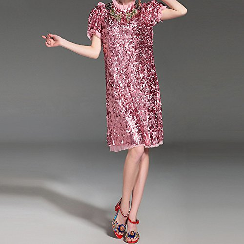 Amazon.com: WalterTi Fashion Newest Runway Designer Dress Womens Short Sleeve Luxurious Bling Beading Sequined Dress vestido lentejuelas: Clothing
