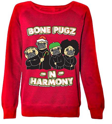 Bone Pugs - Womens Christmas Sweaters (small, Brick (Tacky Christmas Outfits)