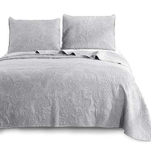 KASENTEX Ultra Soft Stone-Washed Quilt Set 100% Cotton Contemporary Floral Lace Design Bedspread Lightweight Comforter Coverlet Bedding w/Pillow Cover Shams, QUEEN90X88+20X26 X2, Light ()