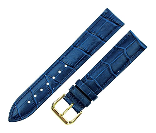 RECHERE Alligator Crocodile Grain Leather Watch Band Strap Gold Pin Buckle Color Blue (Width 22mm)