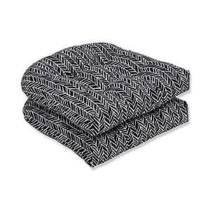 """Set de 2simplista naturaleza esmoquin negro y blanco cojines de asiento de mimbre 19"""""""
