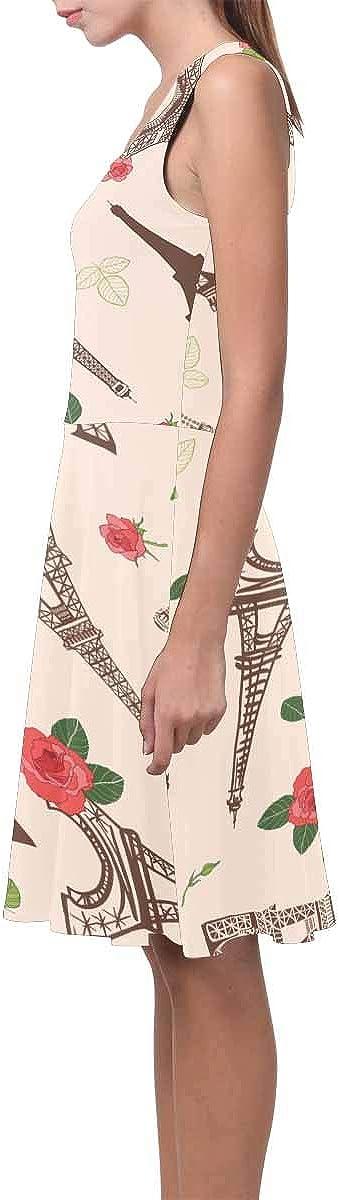 INTERESTPRINT Womens Casual Tank Dresses Eiffel Tower Flowers Sleeveless Swing Sundress XS-3XL