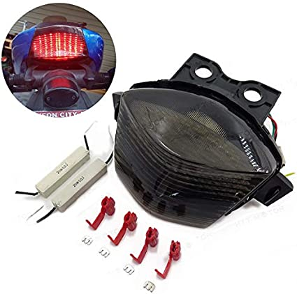 HTTMT MT036- Tail Brake Light Compatible with 2006-2008 Kawasaki Ninja 650R Ex650 Er-6F Smoke