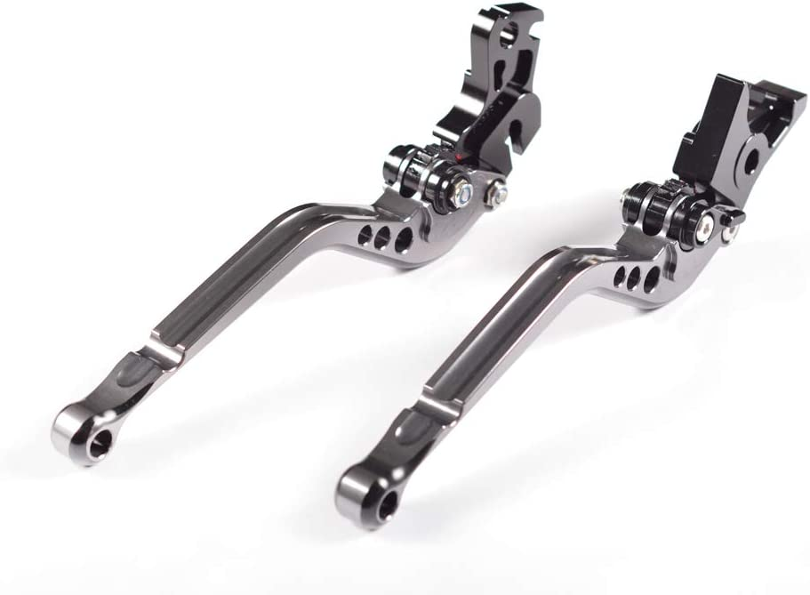 2006-2016 WildBee CNC Motorcycle Gray and Black Long Brake and Clutch Levers Compatible with SCRAMBLER 675 Street Triple 2008-2016