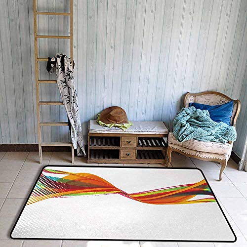 (Non-Slip Carpet Abstract Rainbow Curved Wave Smoke Like Image with Pixel Style Detailed Work of Art Print Quick and Easy to Clean W67 xL79 Multicolor)
