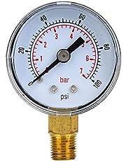 Luchtmeter, Goede luchtdichtheid Waterdrukmeter, Mechanische drukmeter(0-100psi,0-7bar)