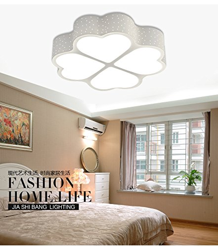CCHYH Led Ceiling Lamp Wrought Iron Shaped Four-Leaf Clover Modern Minimalist Bedroom Creative Personality Living Room Study Nordic Art Children'S Room Eye Lamp, Single White Light, 65Cm (Clover Wrought Iron)