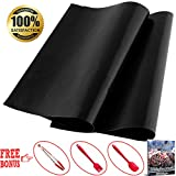 BBQ Grill Mat Set of 2 Heavy Duty Non Stick Reusable Grilling Mats Great for Charcoal Gas or Electric Grills Bonus Cooking Utensils Kitchen Tong Silicone Brush Spatula and 48 Grilling Recipes Ebook