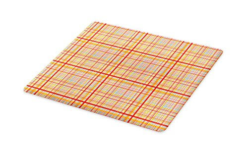 Lunarable Abstract Cutting Board, Funk Art Retro Candy Red C