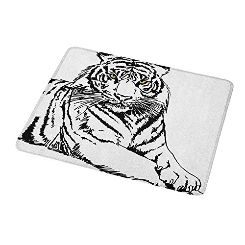 Gaming Mouse Pad Custom Design Mat Safari,Sketch of A Posing Tiger Sharp Eyes Largest Cat Species Dark Vertical Stripes Art,Black White,Non-Slip Rubber Mousepad 9.8