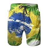 Fimaliy Men's Brazil Flag Grunge Quick Dry Summer