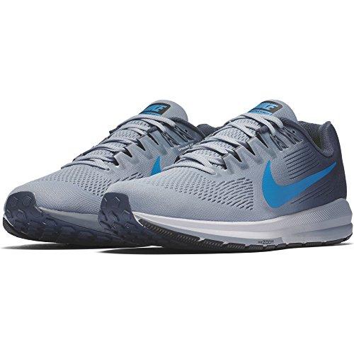 Nike Heren Lucht Zoom Structuur 21 Loopschoen Gletsjer Grijs / Foto Blauw-donder Blauw