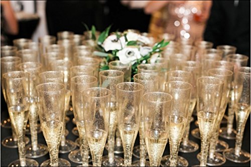 30pc Clear Plastic With Gold Glitter Classicware Glass Like Champagne Wedding Parties Toasting Flutes by Oojami (Image #7)