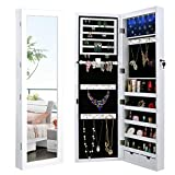 Merax LED Jewelry Cabinet Lockable Wall Door Mounted Jewelry Armoire Organizer with Mirror 2 Drawers (White)