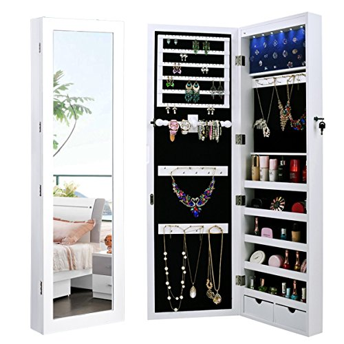 merax-led-jewelry-cabinet-lockable-wall-door-mounted-jewelry-armoire-organizer-with-mirror-2-drawers
