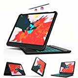 iPad Pro 11 Keyboard Case - Backlit 7 Color - Charging Pencil - Thin & Light - 360 Rotatable - Wireless/BT - Apple iPad Pro 11 inch 2018 Case with Keyboard - YEKBEE 360 for iPad Pro 11 (Black)