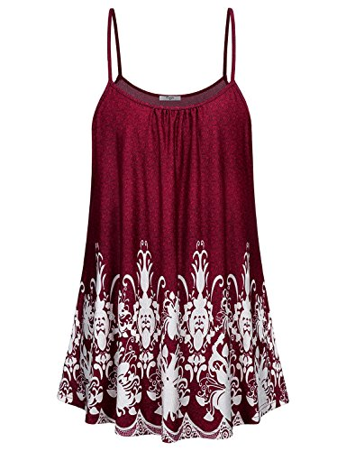 Cestyle Womens Tank Tops, Ladies Summer Printed Camisoles Comfy Fitting Spaghetti Strap Knitted Tunic Dress For Leggings Red XX-Large - Knitted Tunic Dress
