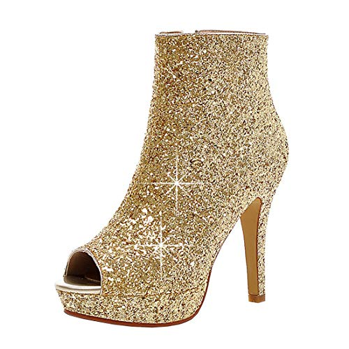 Kikiva Womens Glitter High Heel Stiletto Peep Toe Ankle Boots Side Zip Wedding Booties 7.5 M US,Gold