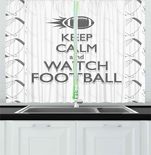 Ambesonne Football Kitchen Curtains, American Sport Play Keep Calm Quote Monochrome Rocket Ball Vintage Label, Window Drapes 2 Panels Set for Kitchen Cafe, 55W X 39L Inches, Black White Grey