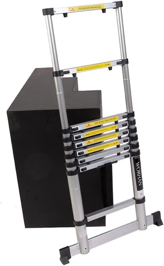 WORHAN/® Echelle 2.0m T/élescopique PRO Aluminium Anodis/é Solide Extensible 200cm 1K2C+bag .2m C-line /& sac