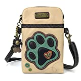Chala Crossbody Cell Phone Purse - Women PU Leather Multicolor Handbag with Adjustable Strap (Ivory- Teal Paw Print)
