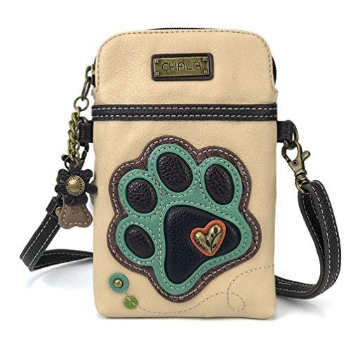 Chala Crossbody Cell Phone Purse - Women PU Leather Multicolor Handbag with Adjustable Strap (Beige - Paw Print)