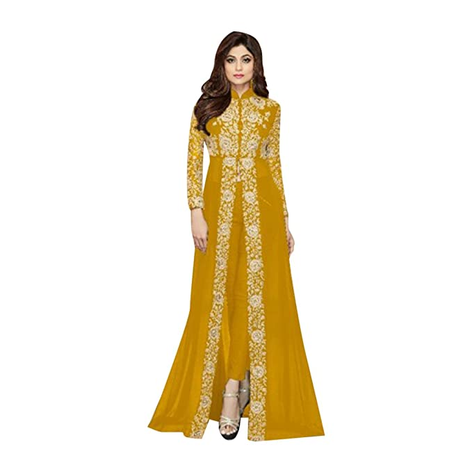 Yellow Traje anarakali de Bollywood Salwar Kameez Ropa de Fiesta Mujer Kurti Pakistaní Ropa Larga diseñador