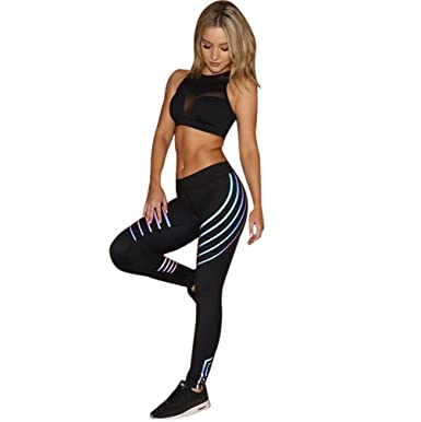 53ef987c7e Halijack Women Waist Yoga Fitness Leggings Running Gym Stretch Sports Pants  Trousers Stripe Patchwork High Waist Skinny Ankle-Length Fashion Casual ...