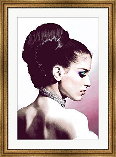 Framed White Gold Necklace - Vintage Fashion Woman with Necklace Pink by Color Me Happy Framed Art Print Wall Picture, Wide Gold Frame, 28 x 38 inches