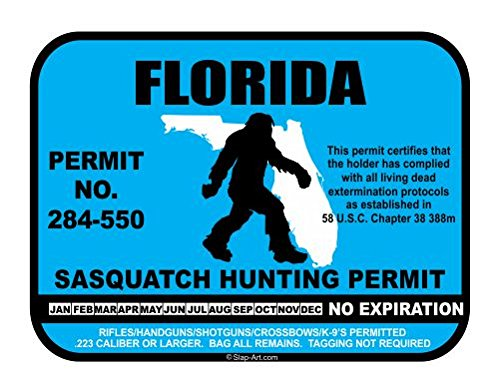 JS Artworks Florida Sasquatch Hunting Permit License Bigfoot Vinyl Sticker Decal