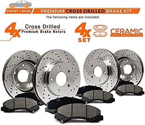 Front Cross Drilled Rotors and Ceramic Pads for 2009-2010 Infiniti FX50