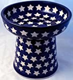Polish Pottery Raised Cat Small Dog Dry Food Dish or Water Bowl – Classic AG1 Stars, My Pet Supplies