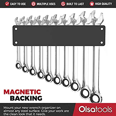 Olsa Tools Professional Magnetic Wrench Holder Organizer   Fits SAE 3/8