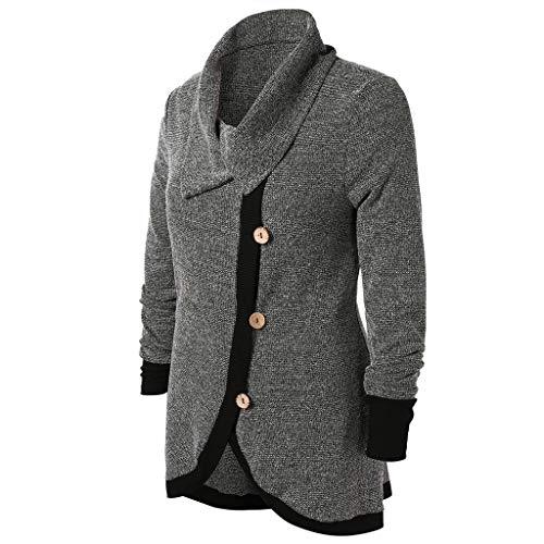 Women Plus Size Women Contrast Trim Buttons Knit Top Block Color Long Sleeve Bloues (M, Drak Grey)]()