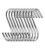 "Medium Size Stainless Round S Shaped Hooks Kitchen Pot Pan Hanger Clothes Storage Rack 8.5CM (""S"" Hook)"