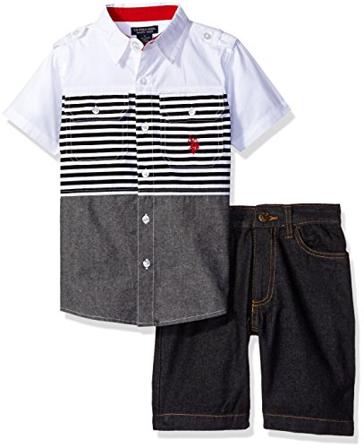 U.S. Polo Assn. Baby Boys' Pieced Stripes Woven Shirt and Denim Short