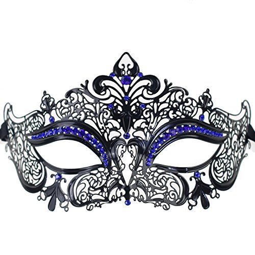 [Black Metal With Sparkly Blue Crystal Crown Masquerade Mask for Queen Princess Ladies Womens (Black with Blue] (Homemade Kids Halloween Costumes 2016)
