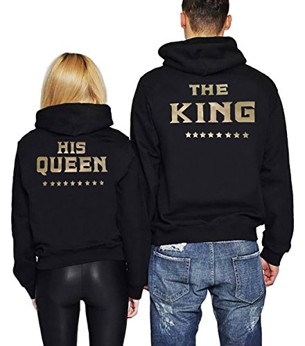 JINT Couple Hoodie Matching Gift Set The King His Queen Sweatshirt Pullover by (Black, King-L+Queen-M) by JINT