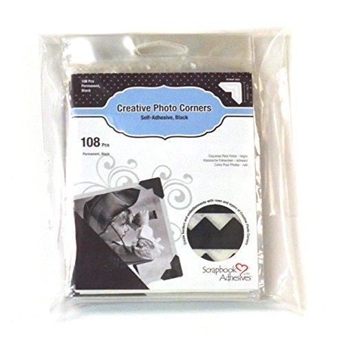 (SCRAPBOOK ADHESIVES BY 3L 3L Scrapbook Self-Adhesive Creative Paper Photo Corners, Black, 108-Pack-Set of 10)