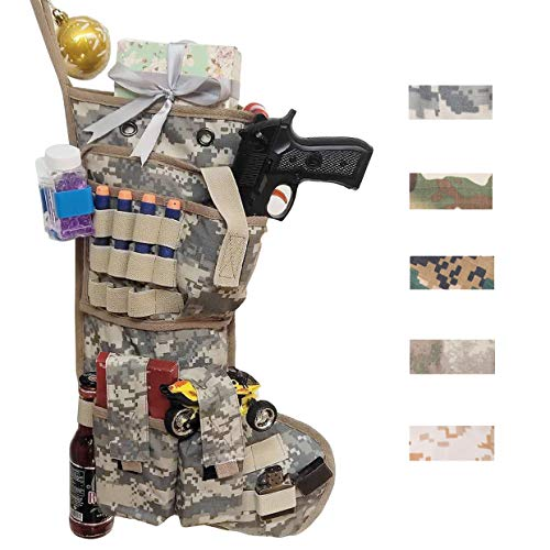 Beyond Your Thoughts New Tactical Christmas Stockings US Military with MOLLE Gear Webbing Durable Christmas Ornament for Family Decorations (Army ()