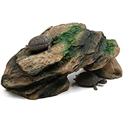 uxcell Resin Reptile Turtle House Cave Hiding Spot Climb Stone Ornament for Aquarium