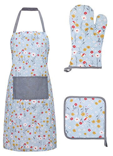 Vintage Kitchen Apron - Livingston Basic Cotton Kitchen Apron with Pockets Glove and Potholder Set,Floral - Blue