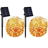 AMIR Solar Powered String Lights, 100 LED Copper Wire Lights, Waterproof Starry String Lights, Indoor/Outdoor Solar Decoration Lights for Gardens, Patios, Homes, Parties (Warm White - Pack of 2)
